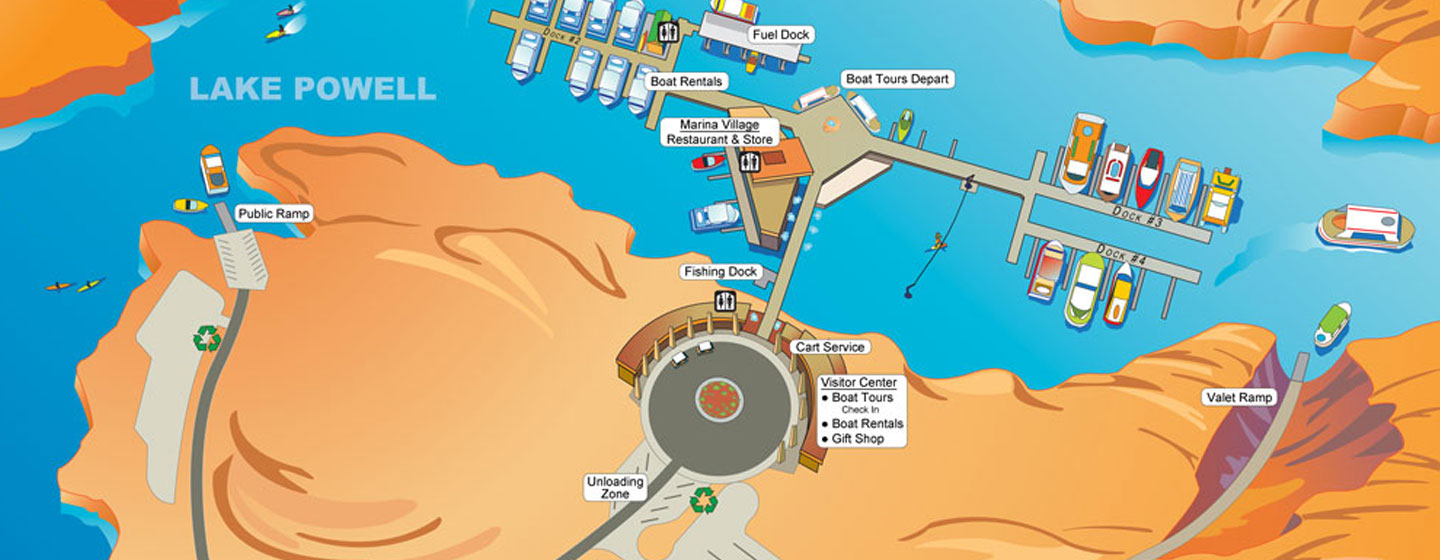 Antelope Point Marina Illustrated Map Lake Powell