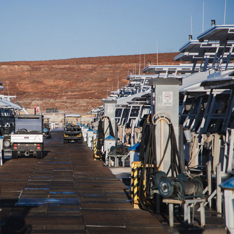 Houseboats docked at Antelope Point Marina Lake Powell
