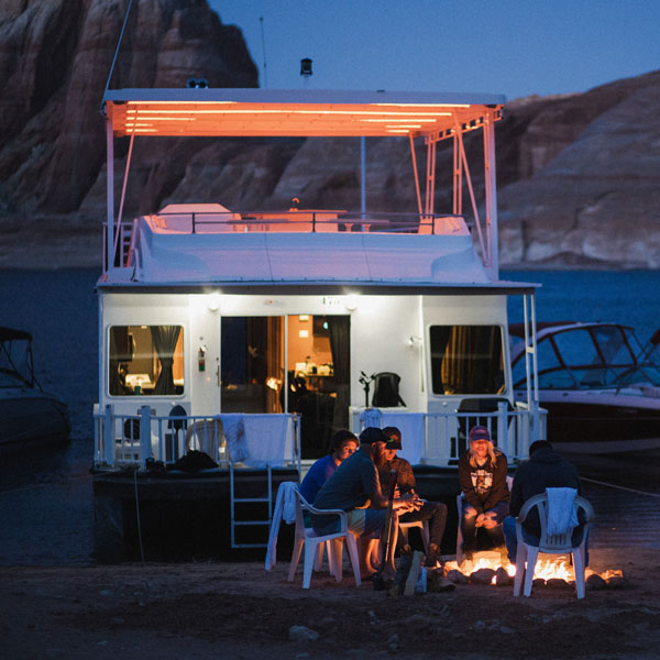 Antelope Point Marina Houseboat on Lake Powell Beach with Fire