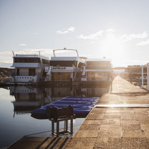 Houseboats docked at Antelope Point Marina Lake Powell