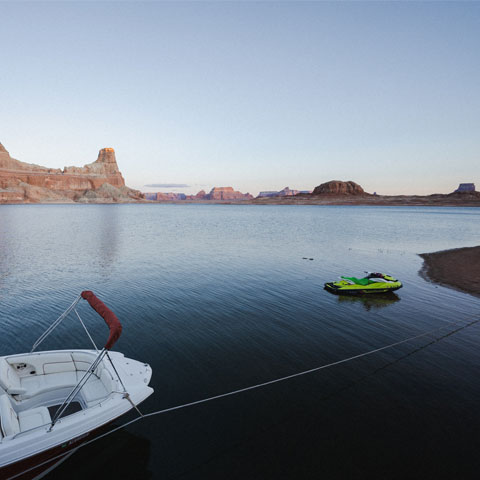 Small Boat Rental on Lake Powell Beach at Antelope Point Marina