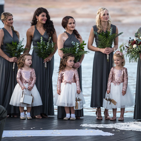 Bride Maids and Flower Girls at Lake Powell Wedding at Antelope Point Marina