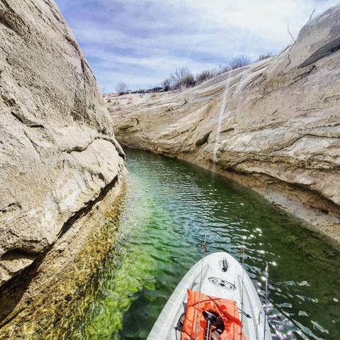 Kayak fishing on Lake Powell
